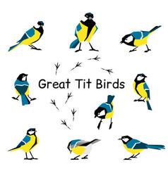 bird icon collection vector image