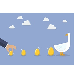 Businessman with goose and golden egg vector