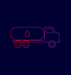 Car transports oil sign line icon with vector