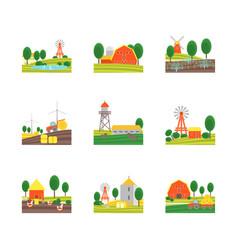cartoon eco farm color icons set vector image vector image