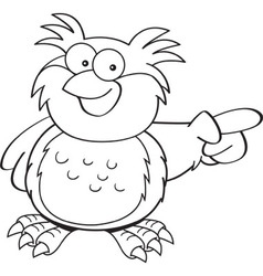 Cartoon owl pointing vector image vector image
