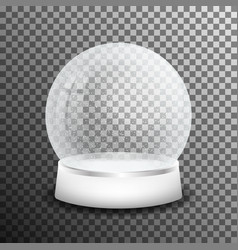 christmas glass snow ball isolated on transparent vector image vector image