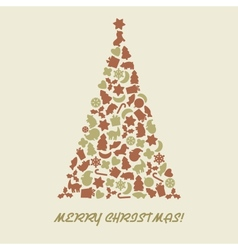 Christmas tree in retro style vector image vector image