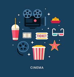 Cinema concept set of flat style icons vector