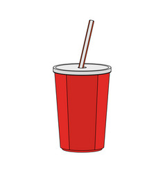 color image cartoon plastic soda disposable cup vector image vector image