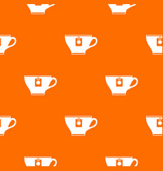 Cup with teabag pattern seamless vector