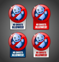 Cute ghost prohibition signs vector