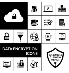 Data encryption black icons composition banner vector