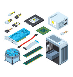 different electronic parts and vector image vector image
