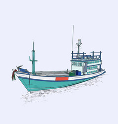 Drawing of fishing trawler at the sea sketch vector
