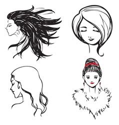 Faces women monochrome vector image