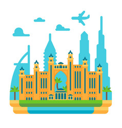 flat design atlantis the palm dubai vector image