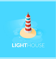 Flat isometric red lighthouse icon on blue sea vector