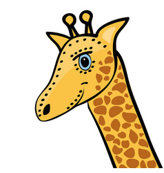 giraffe cute funny cartoon head vector image vector image
