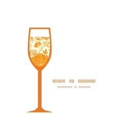 Golden art flowers wine glass silhouette vector
