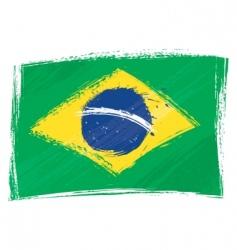 Grunge brazil flag vector