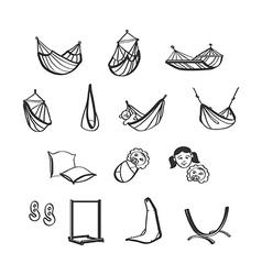 Hammok icons vector