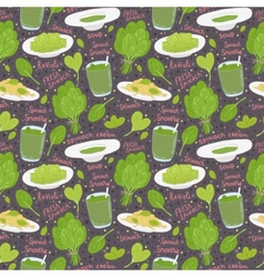 hand drawn spinach seamless pattern vector image vector image