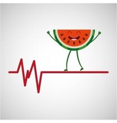 Healthy fruit watermelon heartrate icon vector