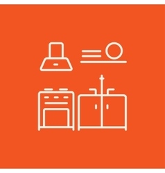 Kitchen interior line icon vector image vector image
