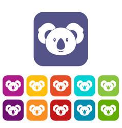 Koala icons set flat vector