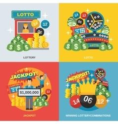 Lottery flat set vector