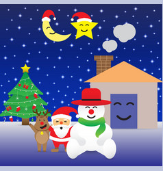 merry christmas - happy six friends and christmas vector image vector image