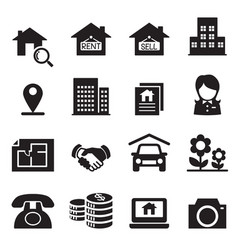 Real estate icons symbol set vector