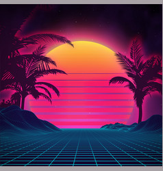 retro background futuristic landscape 1980s style vector image