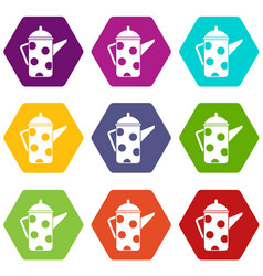 retro coffee kettle icon set color hexahedron vector image