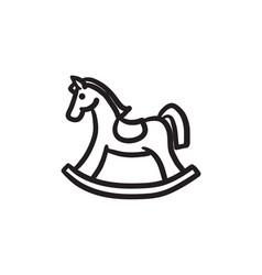 Rocking horse sketch icon vector