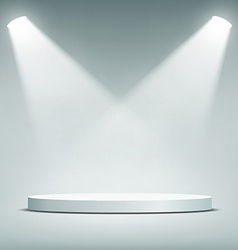 Round podium illuminated by spotlights vector