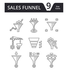sales funnel - thin line icons set vector image