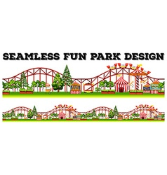 Seamless fun park design with many rides vector