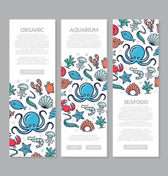 set of three digital fish and seafood vertical vector image