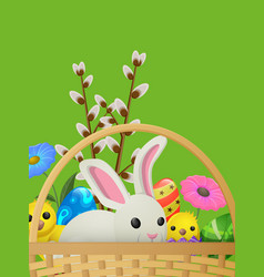 Set of white rabbit yellow chicken willow branch vector