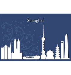 Shanghai city skyline on blue background vector