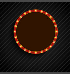 shining retro light of concept circle banner on bl vector image vector image