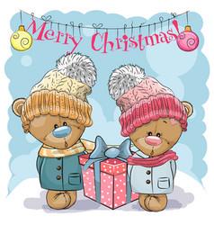 teddy bear boy and girl vector image