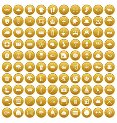 100 hat icons set gold vector