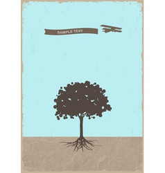 Silhouette of tree and old plane vector