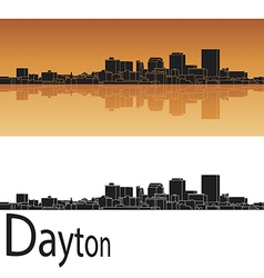 Dayton skyline in orange background vector
