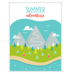 Lake mountains woods and campsite or campground vector