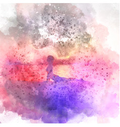 Female in yoga pose watercolour background vector