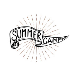 summer camp emblem hand drawn flag with lettering vector image