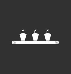 white icon on black background flowerpots on shelf vector image