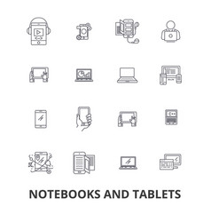 notebooks and tablets laptop screen notepad vector image