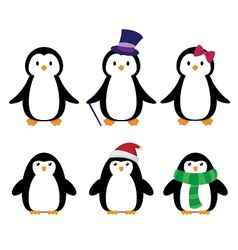 Tall penguins with clothes vector