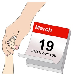Fathers day a dad and a child holding hands vector