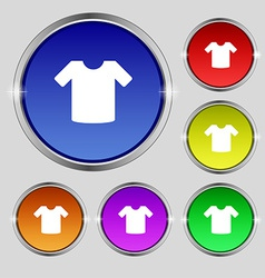 T-shirt clothes icon sign round symbol on bright vector